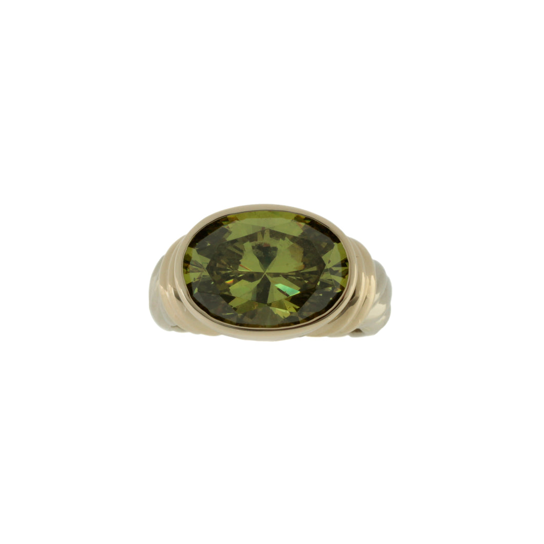 Green Stone Bezel Ring