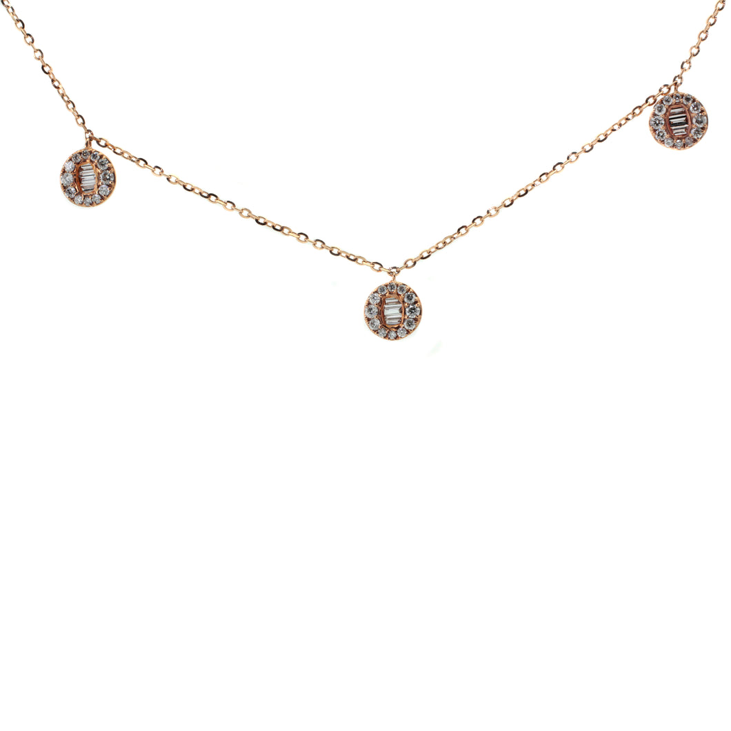 Round Baguette Station Necklace with Diamonds