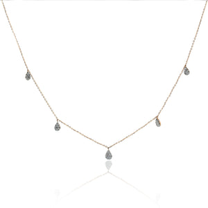 Multi-Teardrop Pave Diamond Necklace