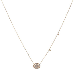 Yellow Gold Pave Diamond Disc Necklace