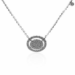 White Gold Pave Diamond Disc Necklace