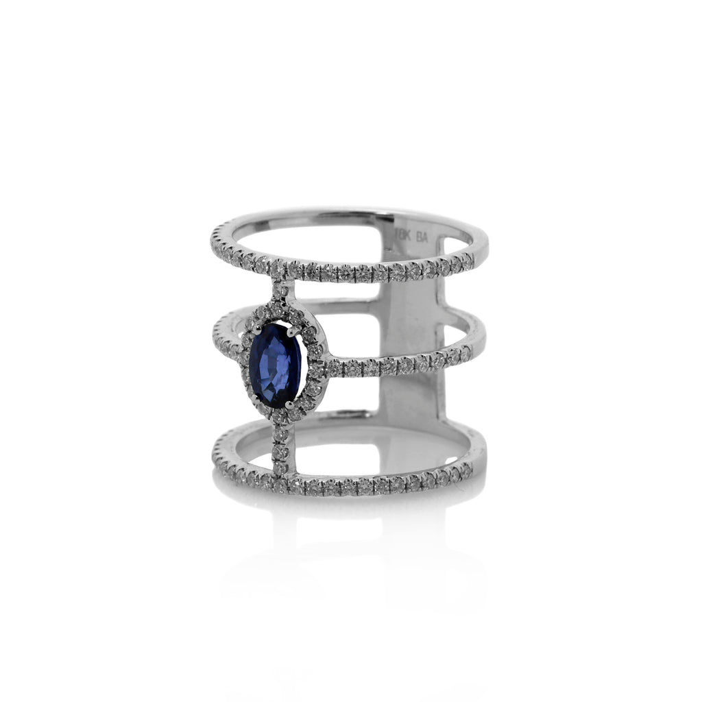 Diamond and Sapphire Cut-Out Ring