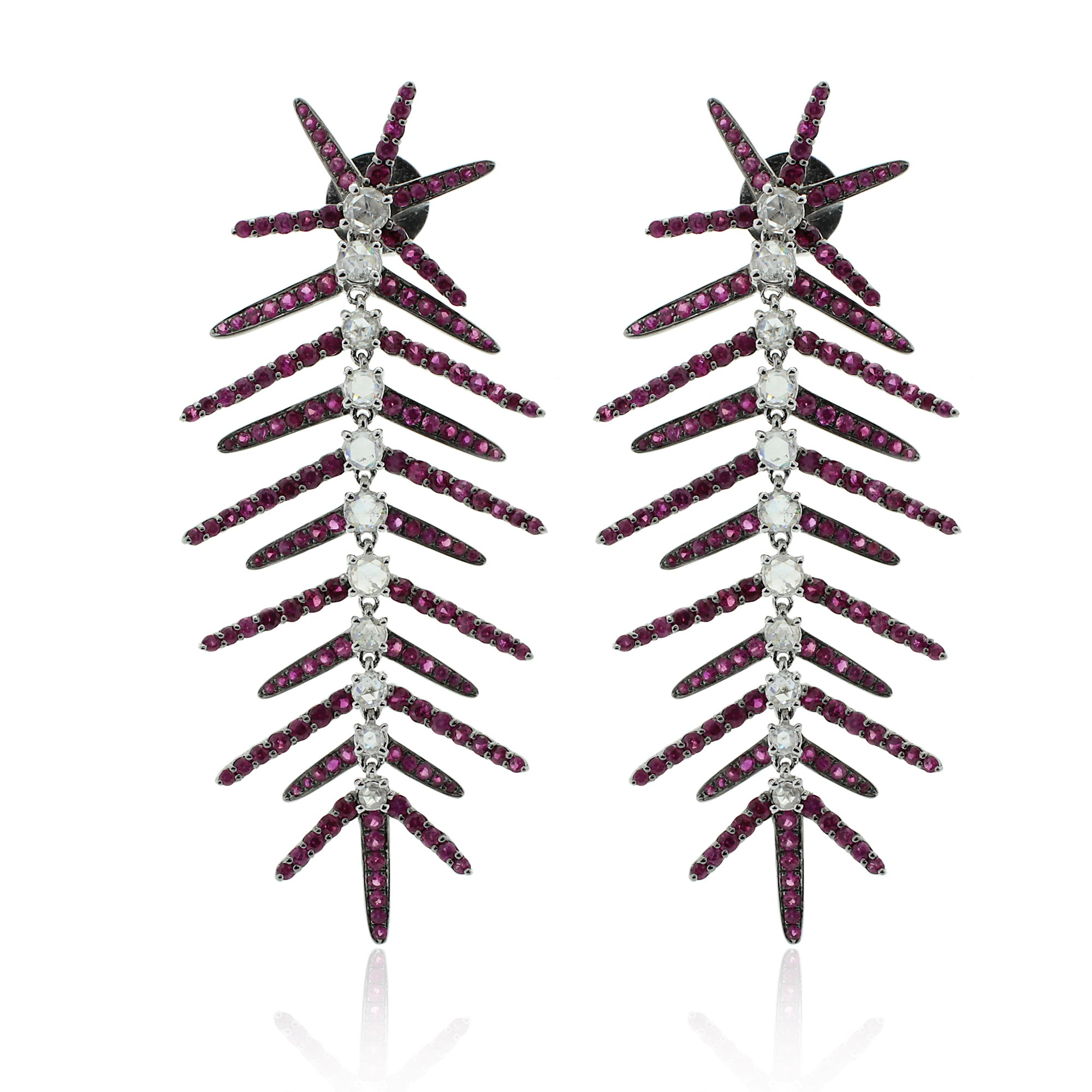 Diamond & Ruby Spinal Earrings