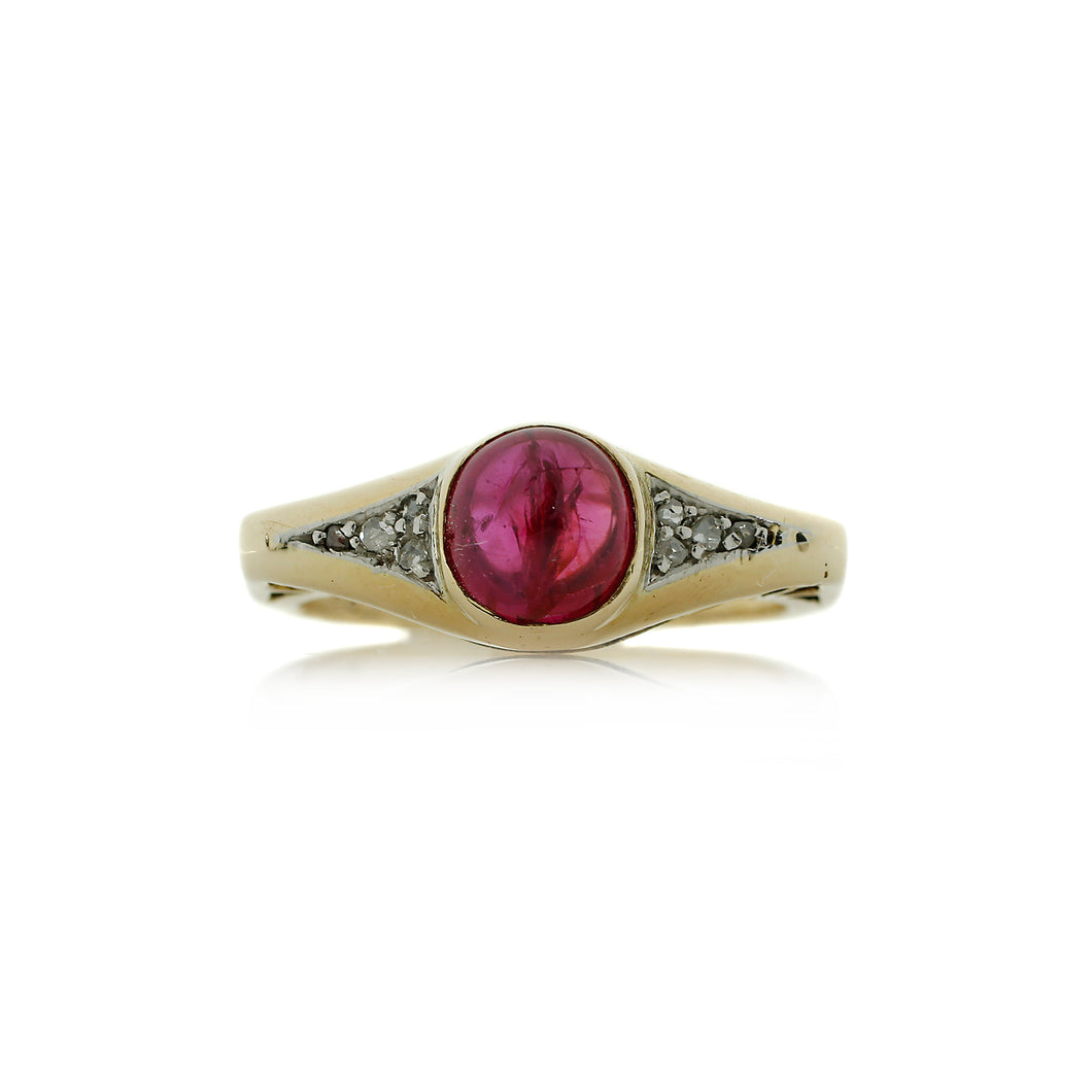 Art Nouveau Ruby Ring in 14K Yellow Gold