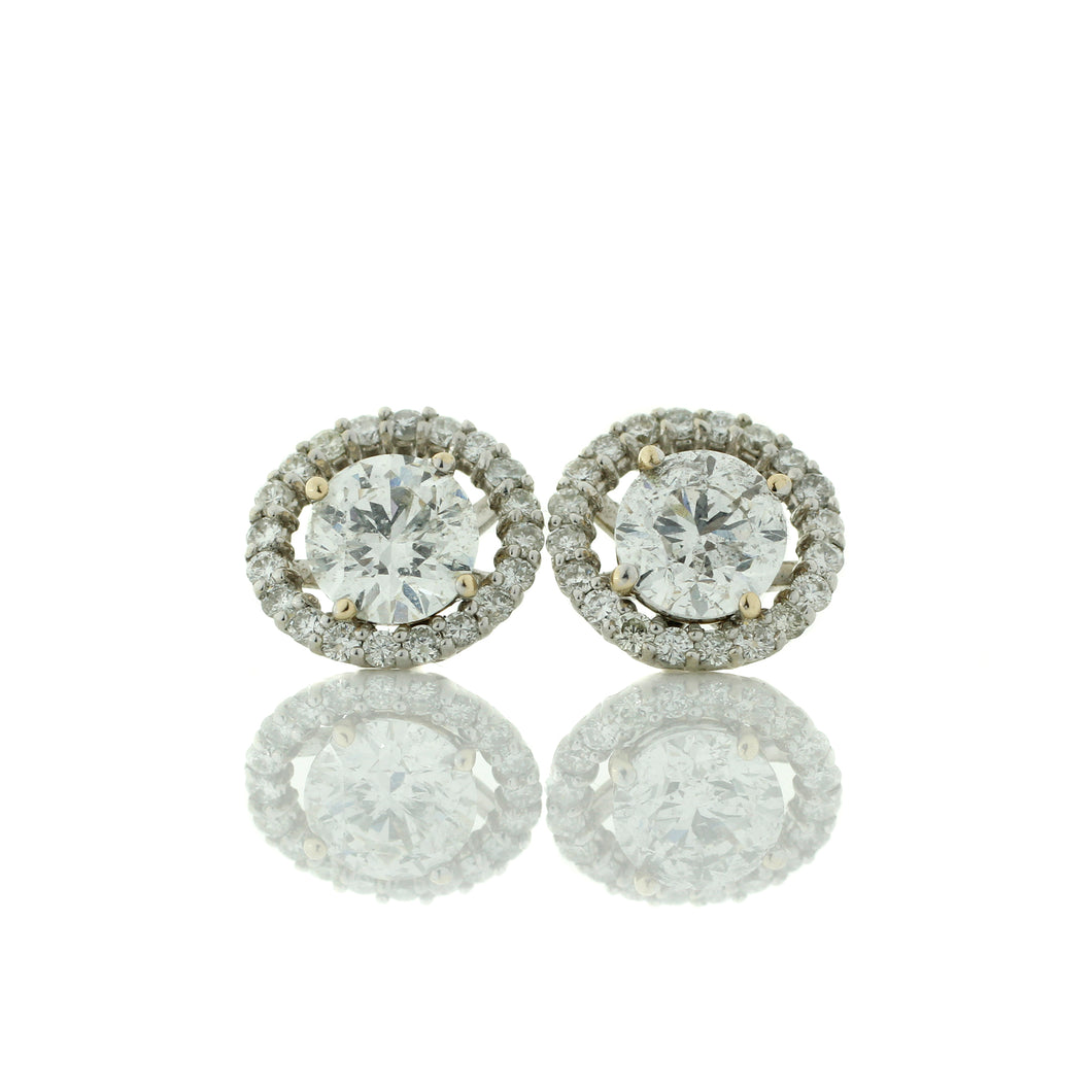 Fancy Halo Diamond Stud Earrings With Split Prong Setting
