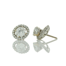 Load image into Gallery viewer, Fancy Halo Diamond Stud Earrings With Split Prong Setting
