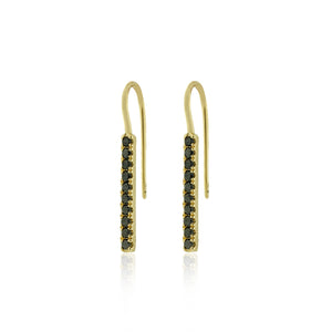 Noir Black Diamond Bar Earrings