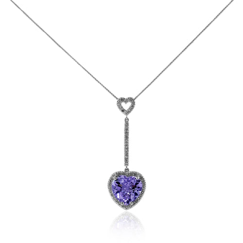 Purple Stone Pendant W/ Diamonds