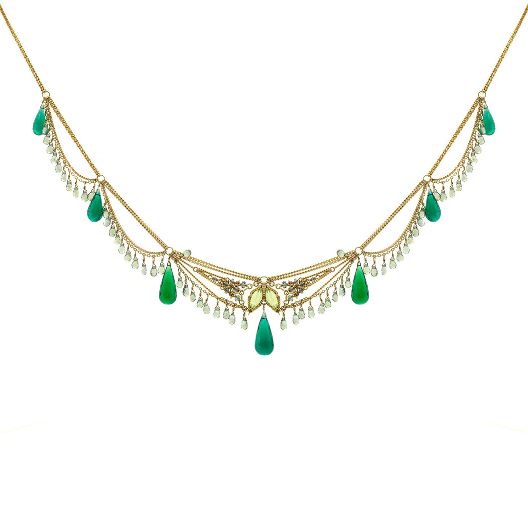 Antique Green Briolette Necklace