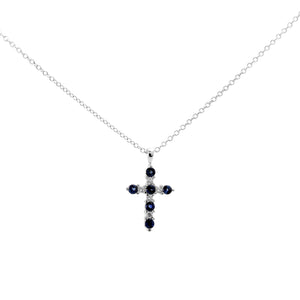 Blue Sapphire and Diamond Cross Pendant in 18K White Gold