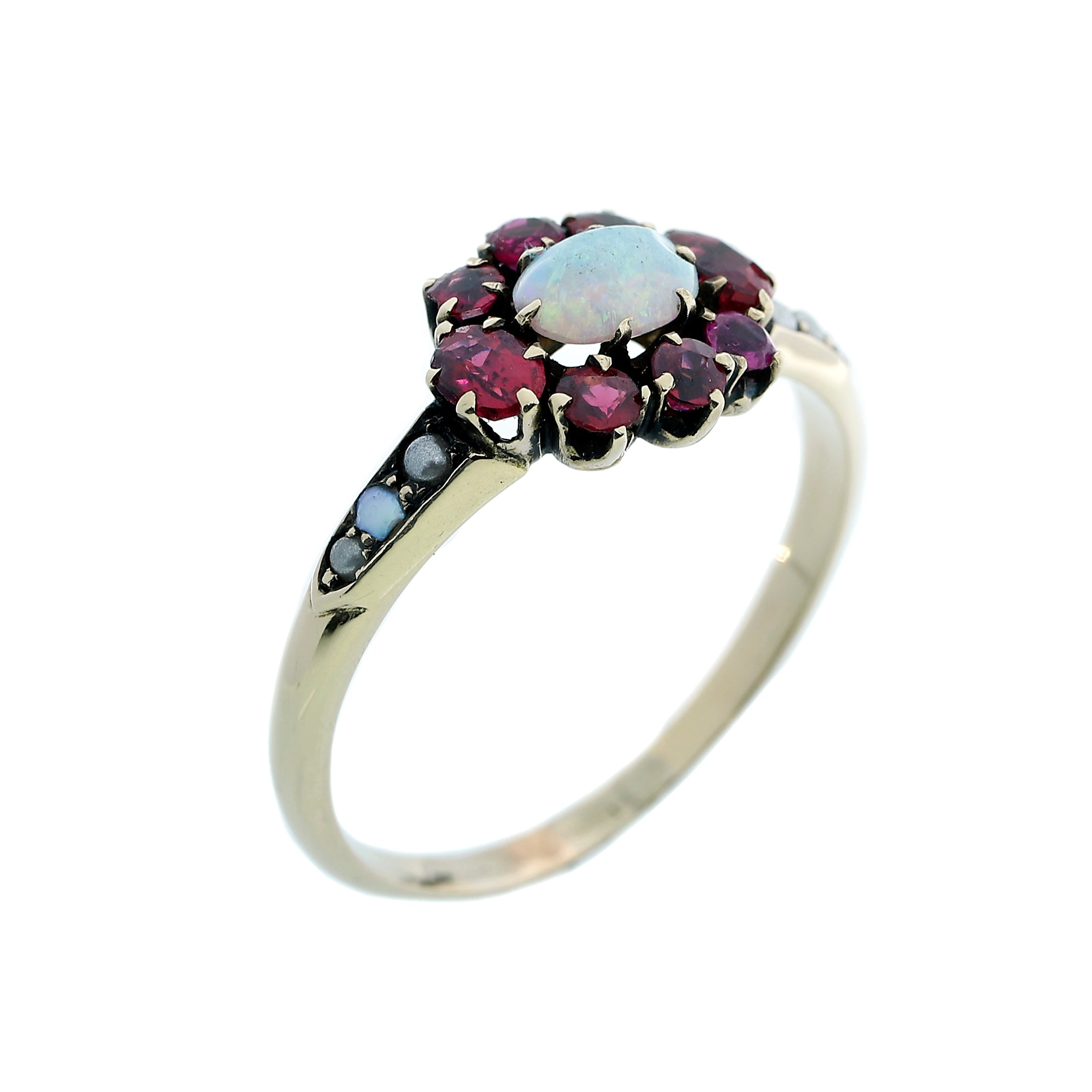 18K Yellow Gold Opal+Ruby Flower Ring