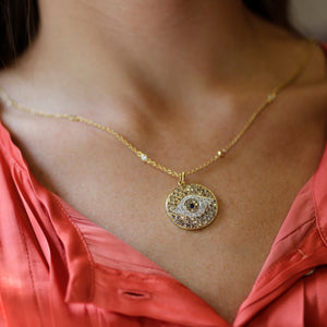 Evil Eye Pendant in 14K Yellow Gold