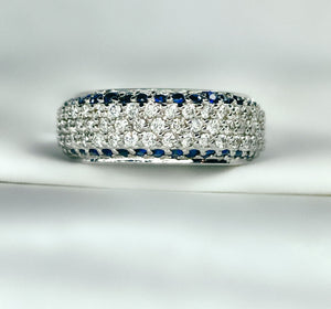 Women's 14K Diamond and Sapphire Free Form Ring