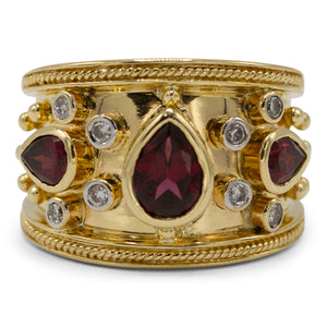 Garnet & Diamond Band Ring