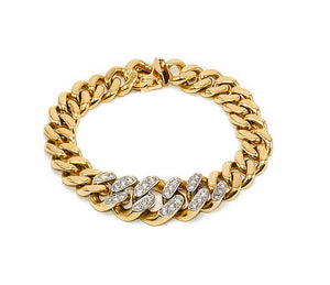 Vintage Gold & Diamond Cuban Link Bracelet
