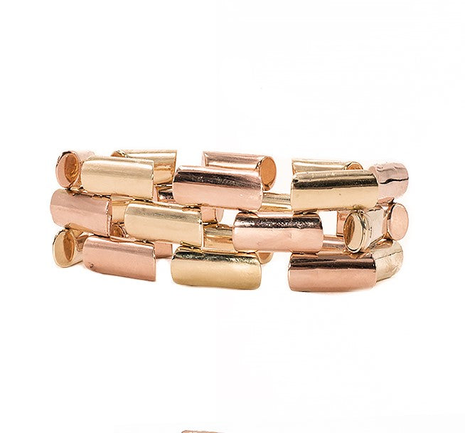Retro Two-Tone Gold Link Bracelet