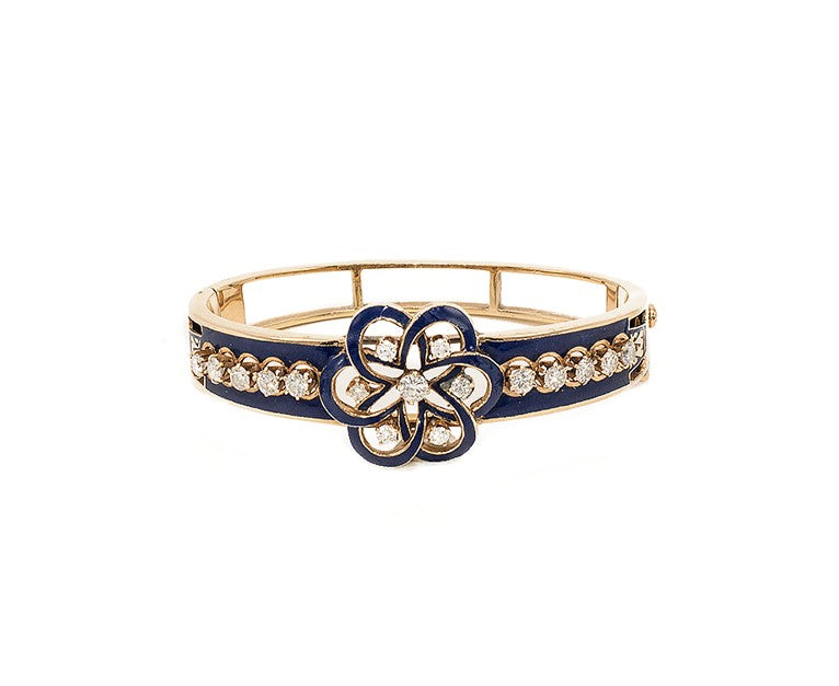 Retro Enamel & Diamond Bangle