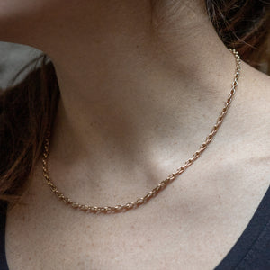 Gold Cable Link Chain Necklace