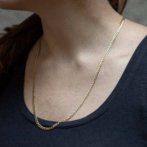 Long Gold Curb Link Chain Necklace