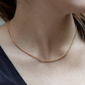 Gold Curb Link Chain Necklace