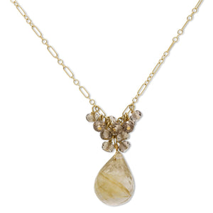 Briolette Quartz Necklace in 14K Yellow Gold