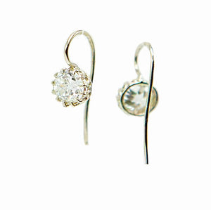 Antique Diamond Earrings in 14K White Gold