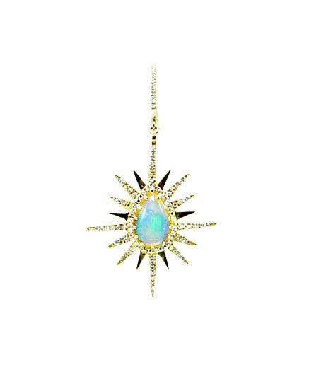 Opal & Diamond Starburst Earrings