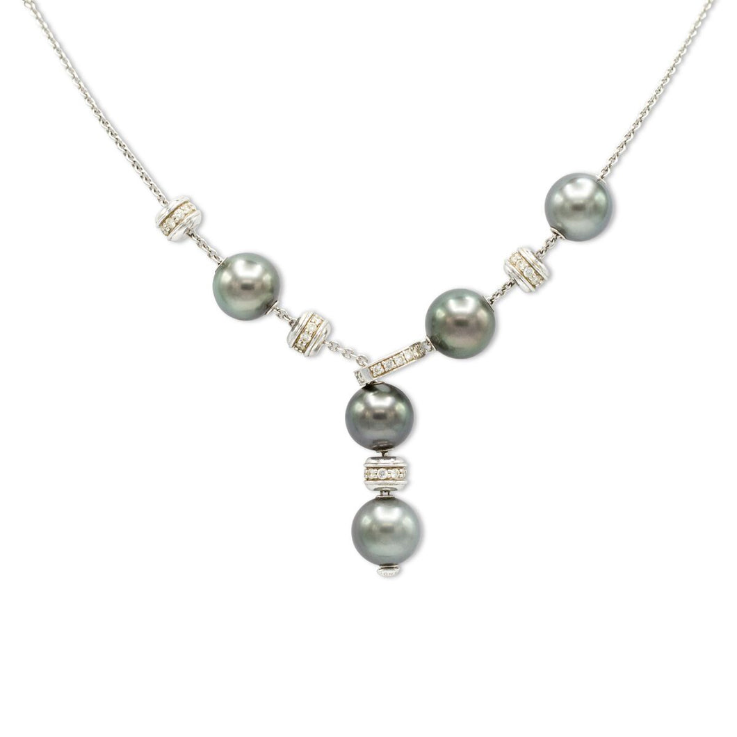 'Pearls in Motion' Black South Sea Cultured Pearl and Diamond Necklace in 18K White Gold