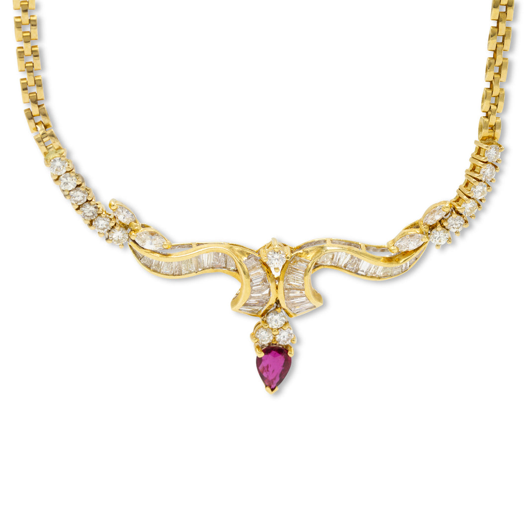 Ruby & Diamond Drop Collar Necklace