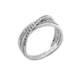 Crossover Diamond Ring in 14K White Gold