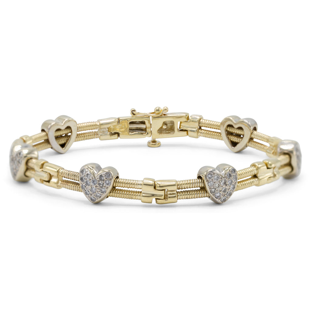 Diamond Heart Two Tone Link Bracelet