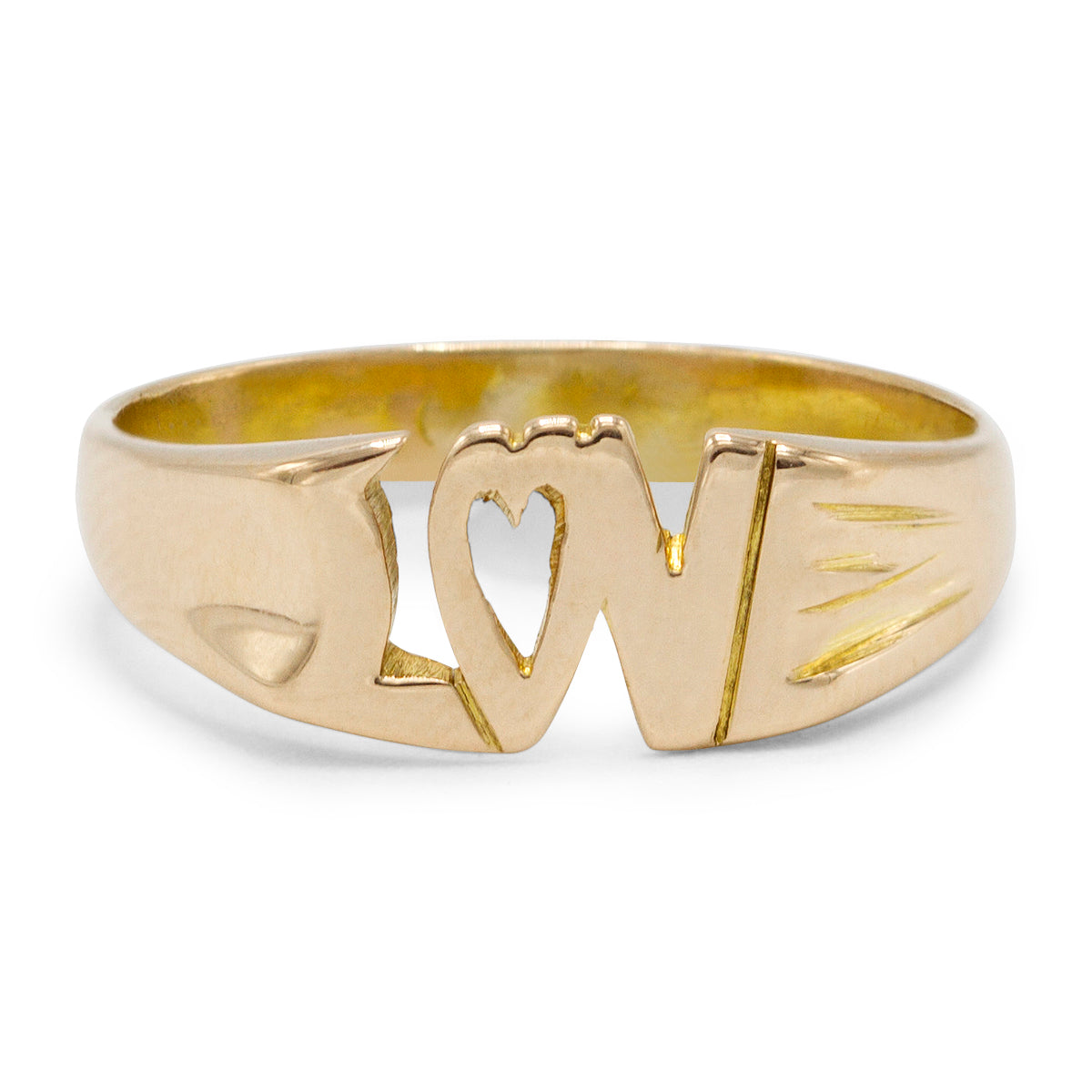 """Love"" Ring in 10K Yellow Gold"