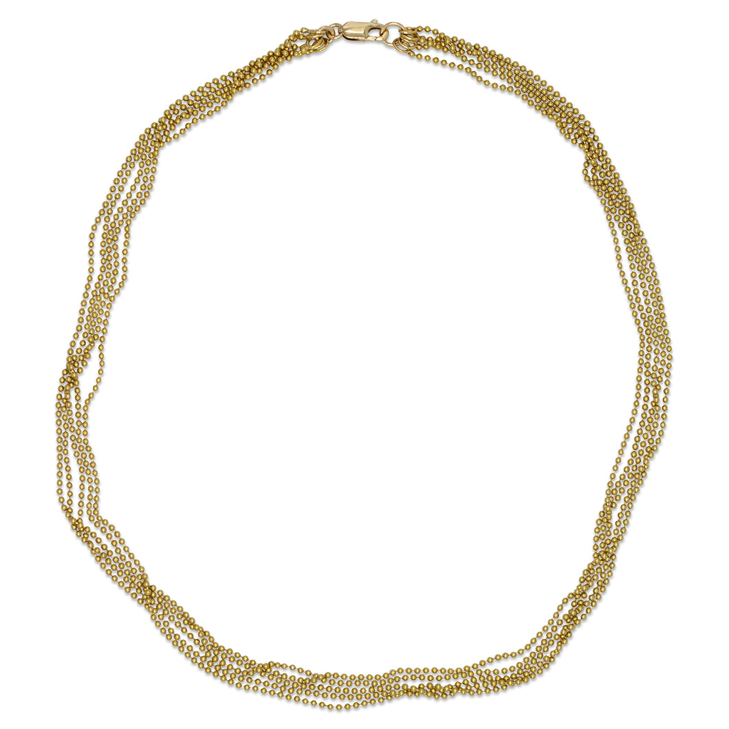 Multi-Beaded Necklace in 14K Yellow Gold