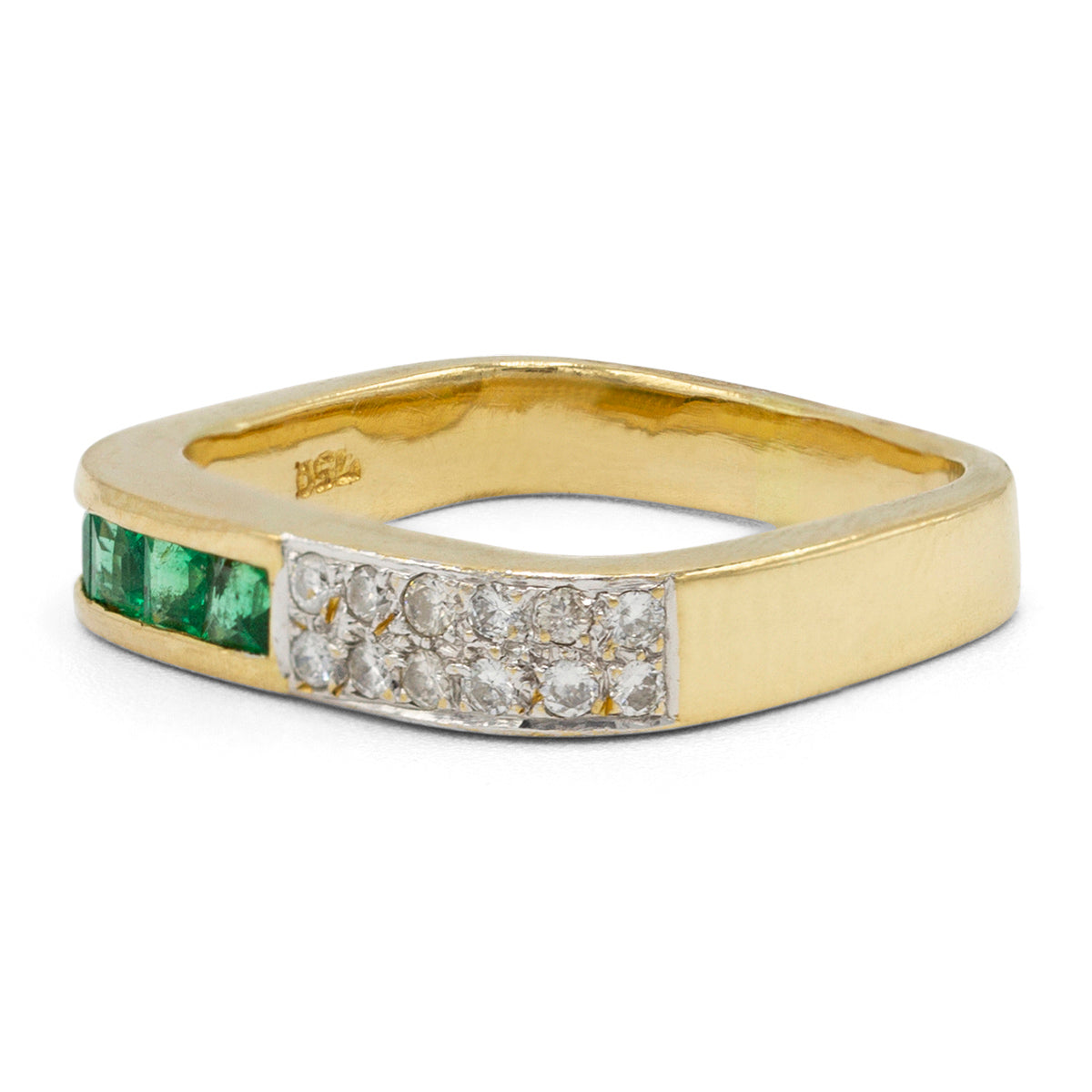 Diamond & Emerald Square Ring
