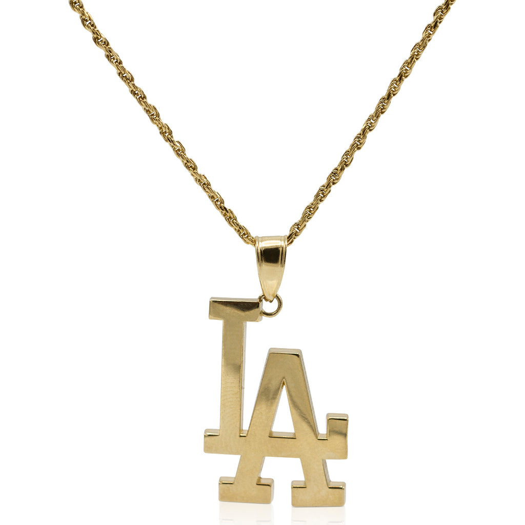 """LA"" Dodgers Pendant in 14K Yellow Gold"