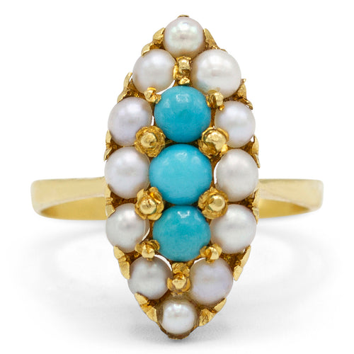 Turquoise and Pearl Navette Ring