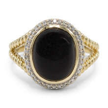 Load image into Gallery viewer, Onyx Cabochon Diamond Ring