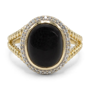 Onyx Cabochon Diamond Ring