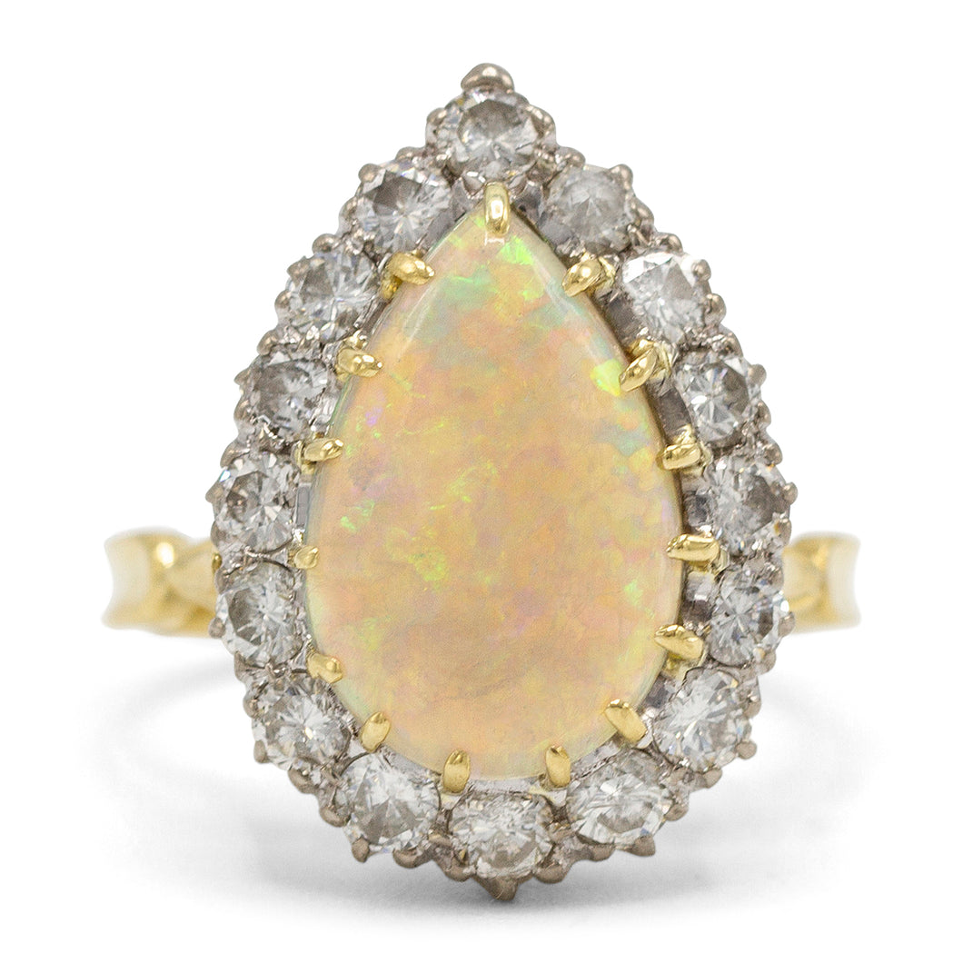 Opal Pear Shaped Diamond Ring