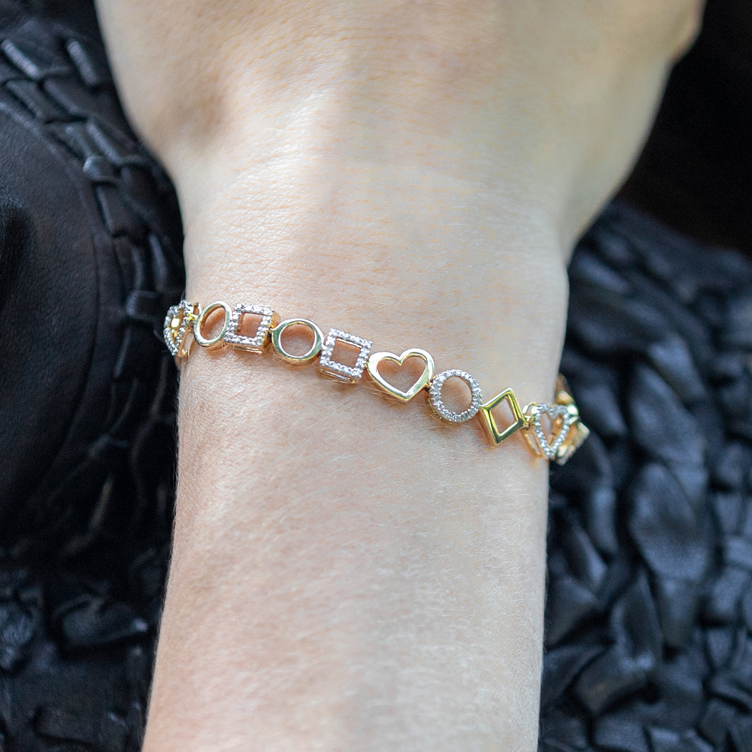 Geometric Gold and Diamond Heart Bracelet