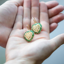 Load image into Gallery viewer, Pearl and Green Beryl Heart Earrings