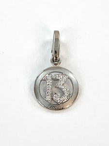 White Gold Lucky 13 Charm