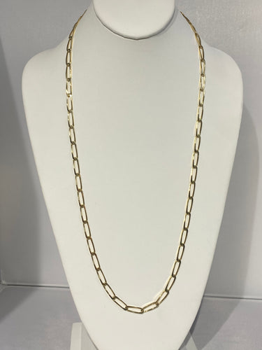 Paper Clip Long Gold Chain