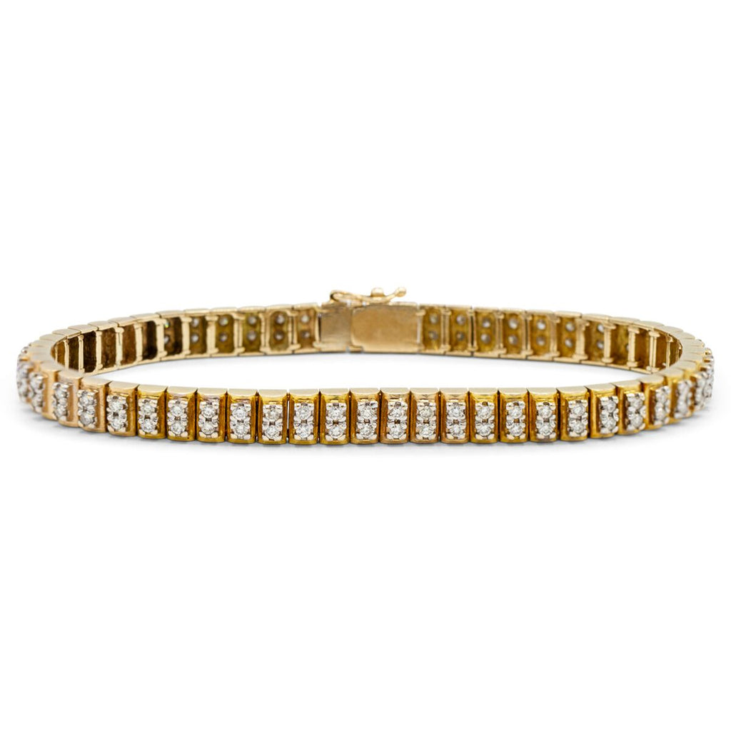 Double Row Round Diamond Fashion Bracelet