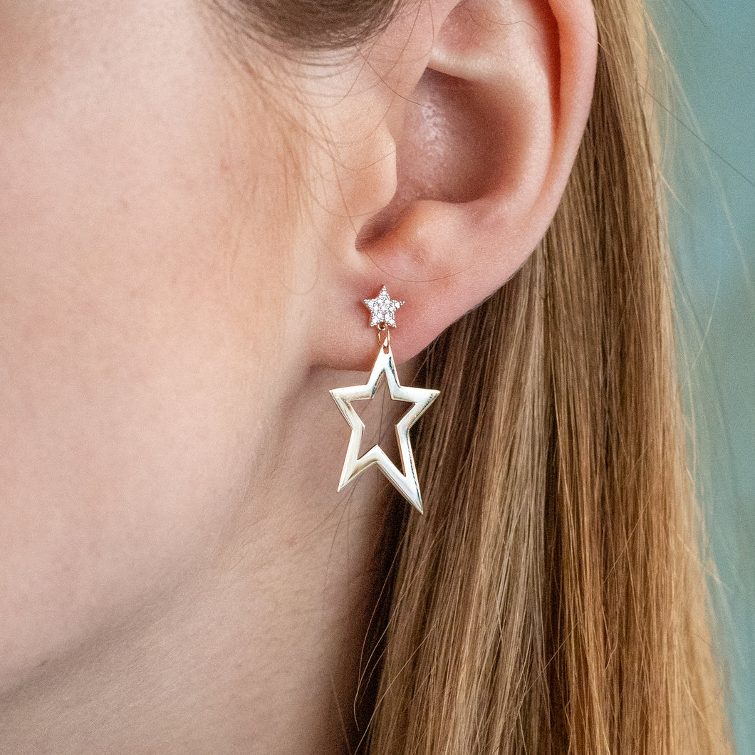 Gold and Diamond Hanging Star Earrings