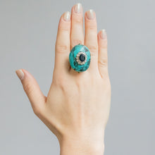 Load image into Gallery viewer, Cabochon Cut Turquoise and Diamond Ring