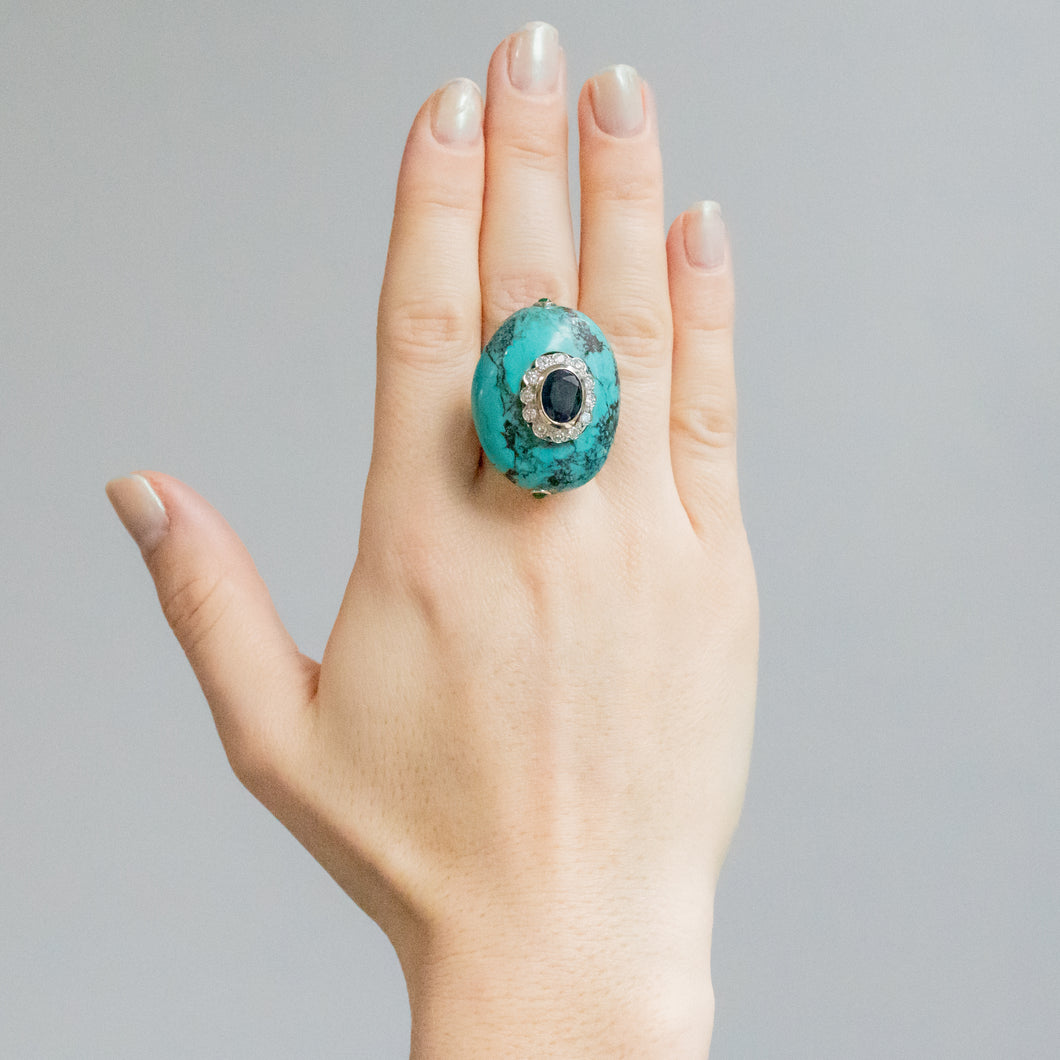 Cabochon Cut Turquoise and Diamond Ring