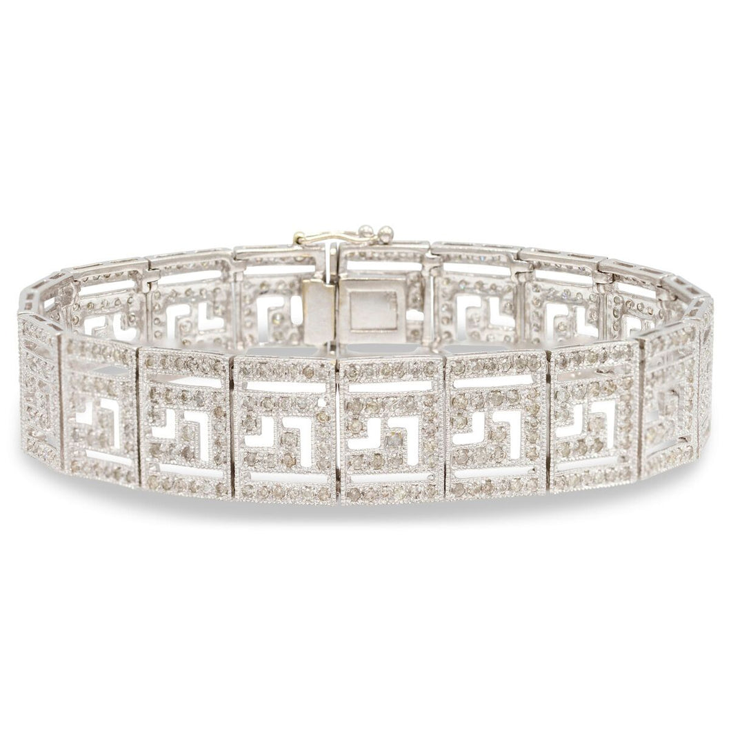 Diamond Greek Motif Bracelet