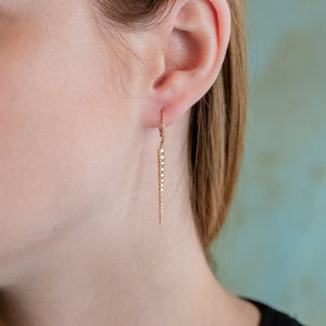 Gold and Diamond Spike Drop Earrings