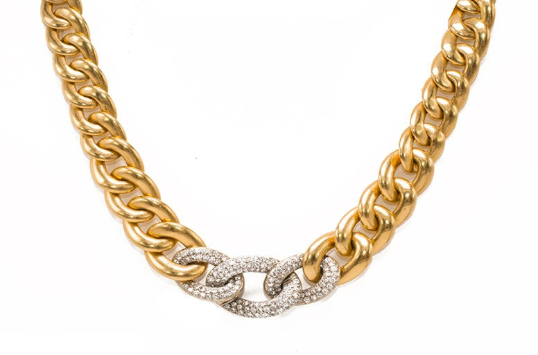 Vintage Gold and Diamond Chunky Chain Necklace